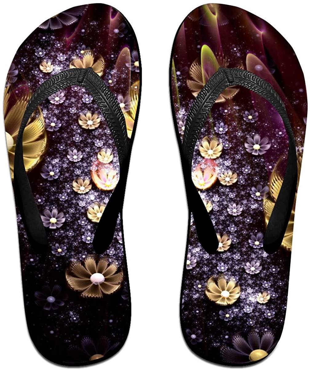 SLHFPX Mens Flip Flop Slippers Abstract Fractal Pattern Rubber Comfy Flip Flops Outdoor Beach Sandals