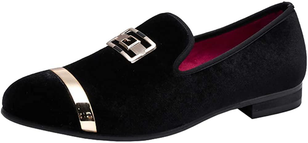 Heyikeyue Fashion Genuine Leather Slip-on Glitter Shoes Loafers for Men Mens Vintage Velvet Metal Loafers Slip-on Loafer Smoking Slipper Dress Shoes