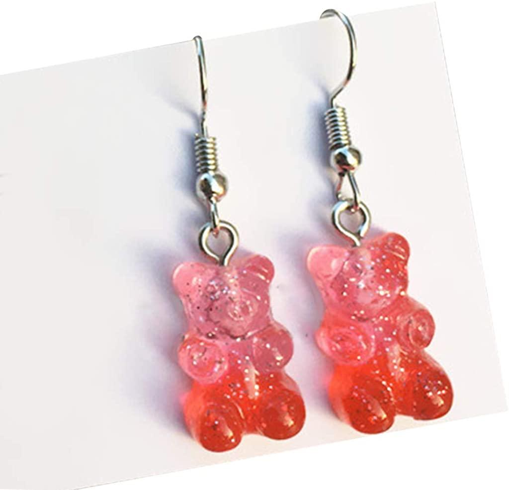 Yeahii 1 Pair Fashion Lovely Colorful Cartoon Sweet Bear Resin Dangle Drop Earrings Cha for Birthday Wedding Gift