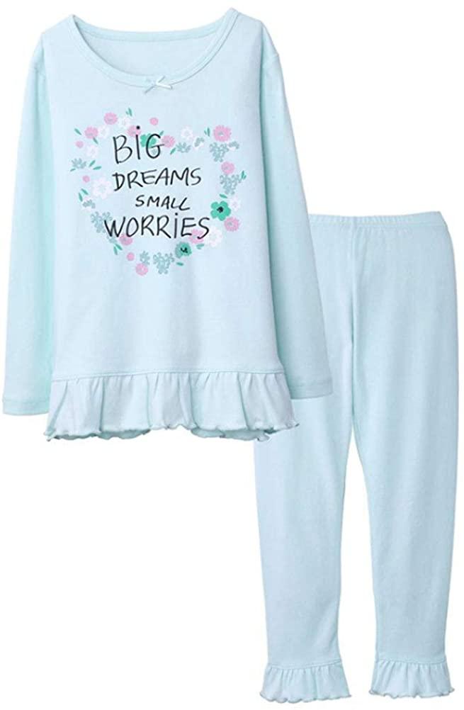 Girls Casual Ruffled Sleepwear Long Sleeve Two-Piece Set Winter Cotton Nightwear