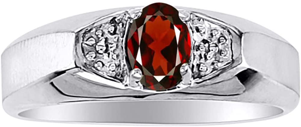 Birthstone Ring Sterling Silver or Yellow Gold Plated Silver Garnet Ring