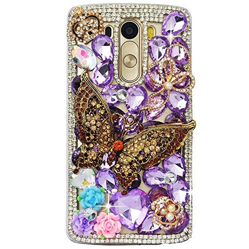 STENES LG Harmony Case - STYLISH - 100+ Bling - 3D Handmade Retro Butterfly Crown Flowers Design Protective Case For LG Harmony/LG K20 V (VS501) / LG K20 Plus/LG Grace LT - Purple