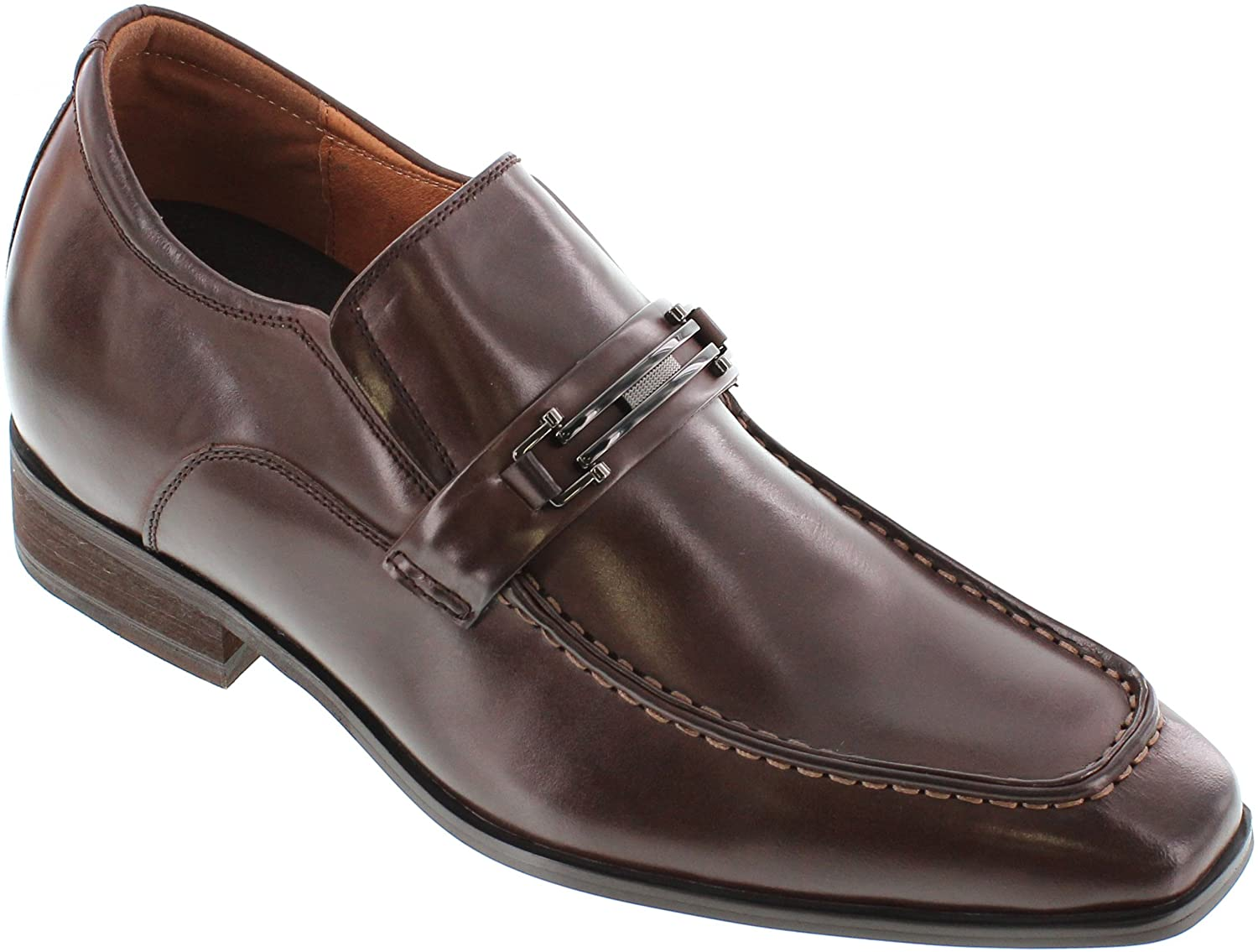 CALTO Men's Invisible Height Increasing Elevator Dress Shoes - Dark Brown Premium Leather Slip-on Formal Loafers with Faux Leather Bottom Sole - 3 Inches Taller - G65032