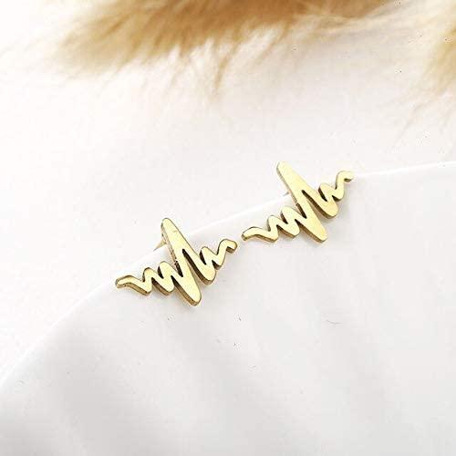 Harva Women Golden Stainless Steel Cute Stud Earrings Carnations for Girls Animal Heart Leaves Cat Earrings Minimalist Jewelry Brincos - (Metal Color: e0176jinse)