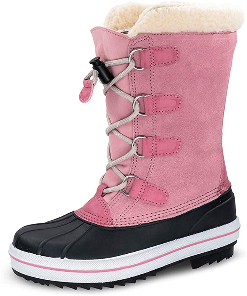 TF STAR Youth Girls Suede Leather Winter Warm Snow Boots, Pink Outdoor Waterproof Fashion Comfortable Snow Boots for Girls