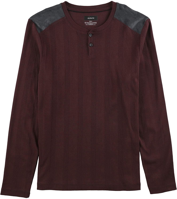 Alfani Mens Ribbed Knit Henley Shirt