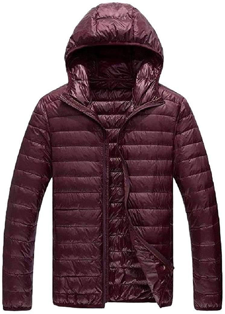 Fnbdyfjdsf Men Lightweight Lined Full Zip Hooded Packable Puffer Down Jacket,Wine Red,Large