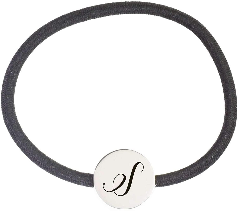 Pink Box Round Hybrid Initial Hair Tie Bracelet S - Silver