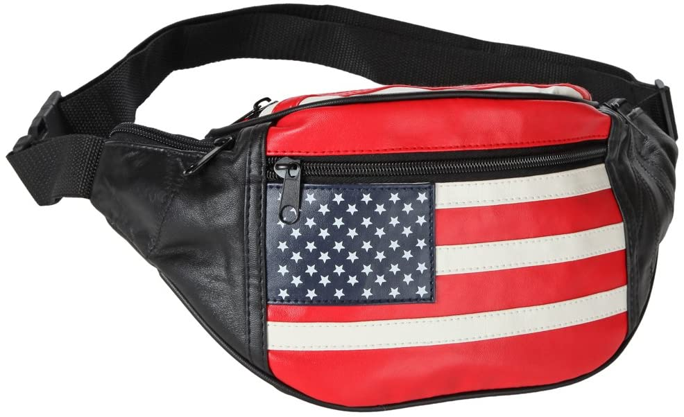 Home-X - Genuine Leather Lambskin Waist Bag Fanny Pack, The Perfect to-Go Travel Bag for Men and Women of All Ages, Stars and Stripes