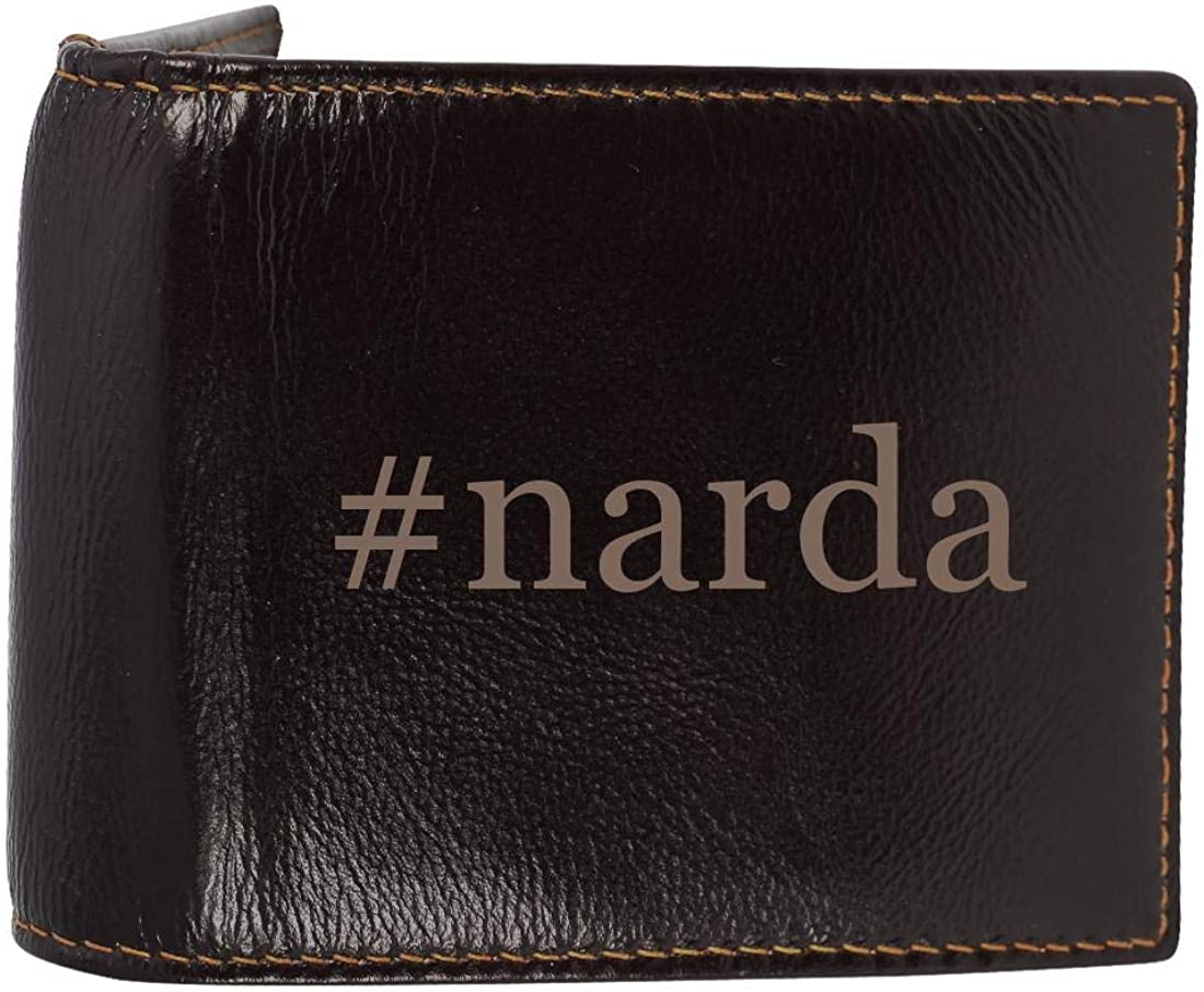 #narda - Genuine Engraved Hashtag Soft Cowhide Bifold Leather Wallet
