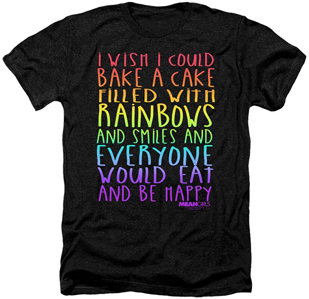 Mean Girls Heather T-Shirt Rainbows and Cake Black Tee