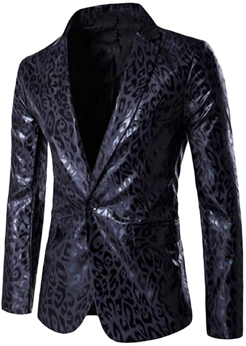 Men Leopard Casual Single Floral Nightclub Button Slim Sport Coat