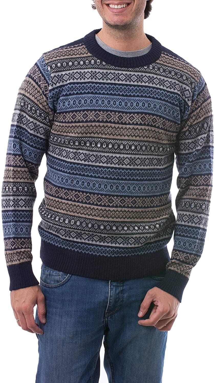 NOVICA Black and Blue 100% Alpaca Men's Sweater, Monument'