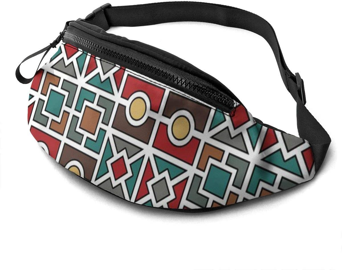 Ethnic Pattern With Polygonal Shapes Fanny Pack For Men Women Waist Pack Bag With Headphone Jack And Zipper Pockets Adjustable Straps
