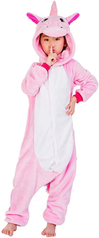 Boys Girls Animal Unicorn Pajamas Soft Fleece Flannel Bathrobe