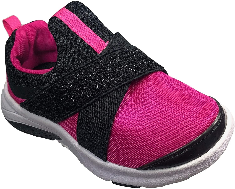 Athletic Works Slip-On Cross Strap Running Shoe Pink & Black Toddler