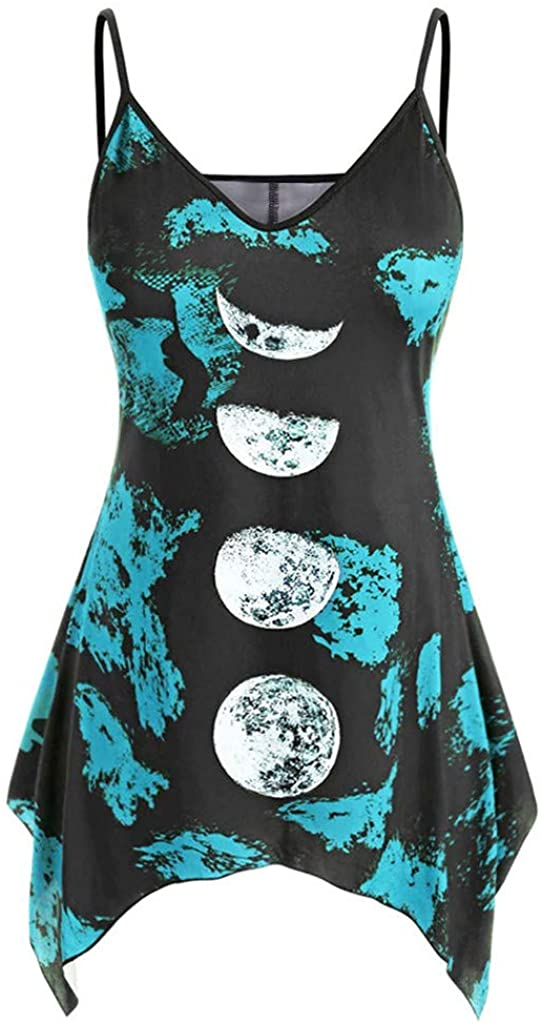LUDAY Halloween Tank Tops Vintage Sleeveless V-Neck Moon Printed Asymmetric High Low Hem T-Shirt Tops