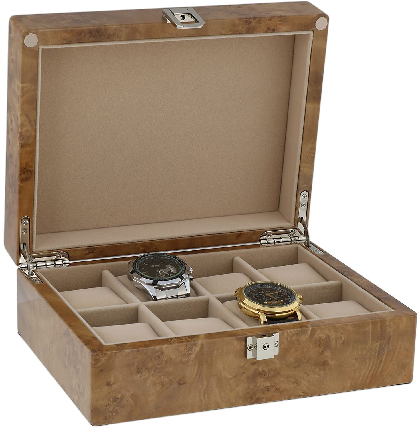 Watch Collectors Box for 8 Wrist Watches in Light Burl Wood with Solid Lid by Aevitas
