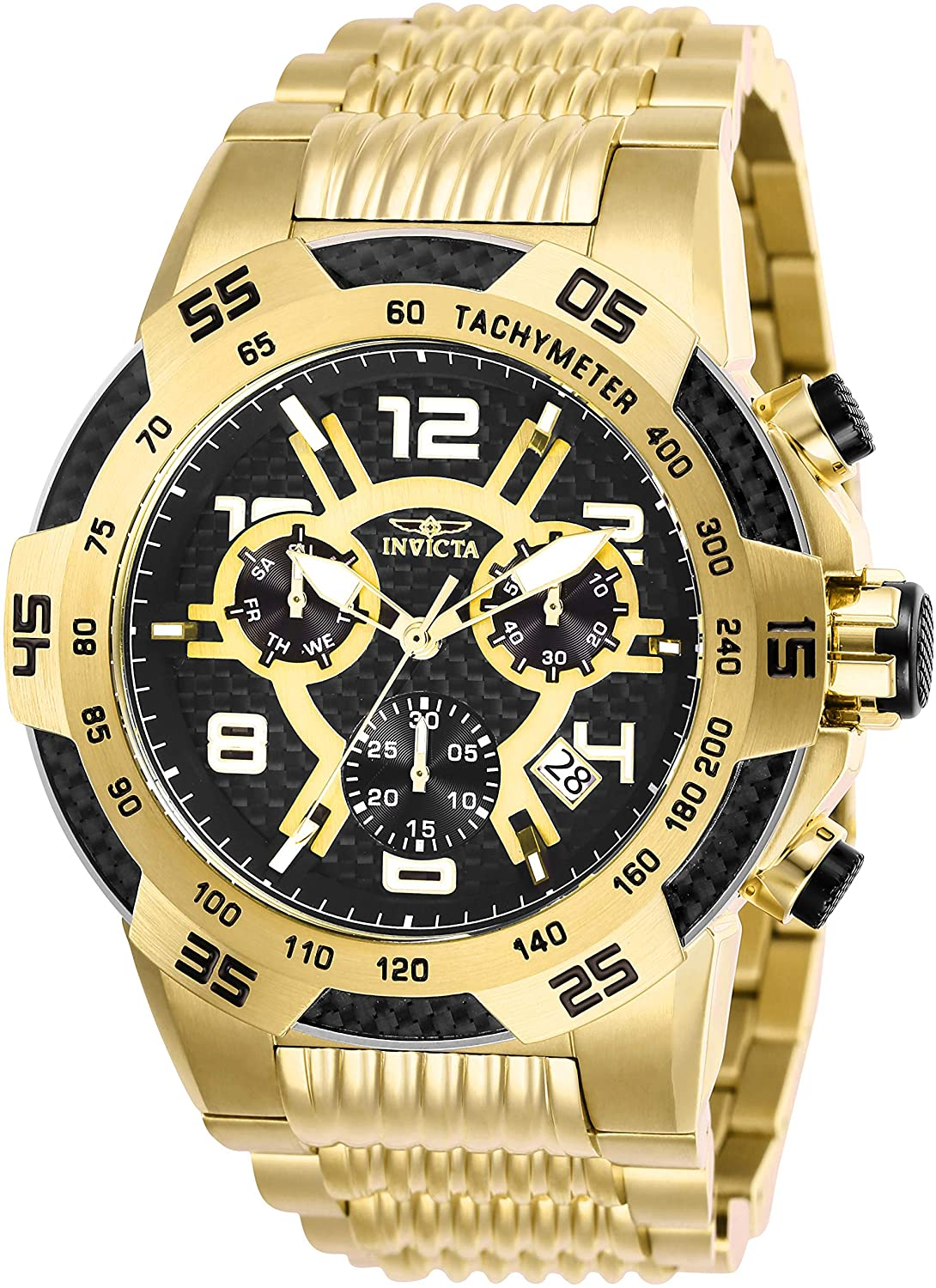 Invicta Men's Speedway Quartz Watch with Stainless Steel Strap, Gold, 30 (Model: 25286)