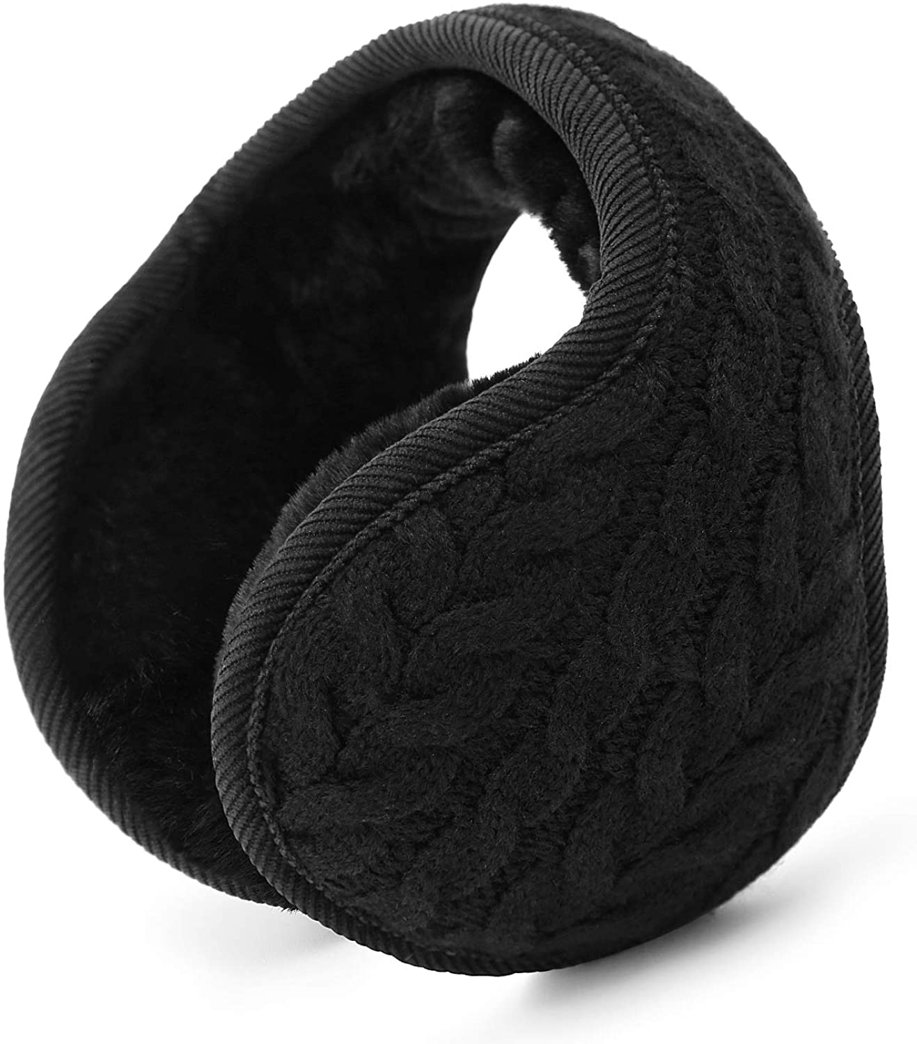 Winter thickening outdoor unisex foldable warm plush earmuffs, behind black style