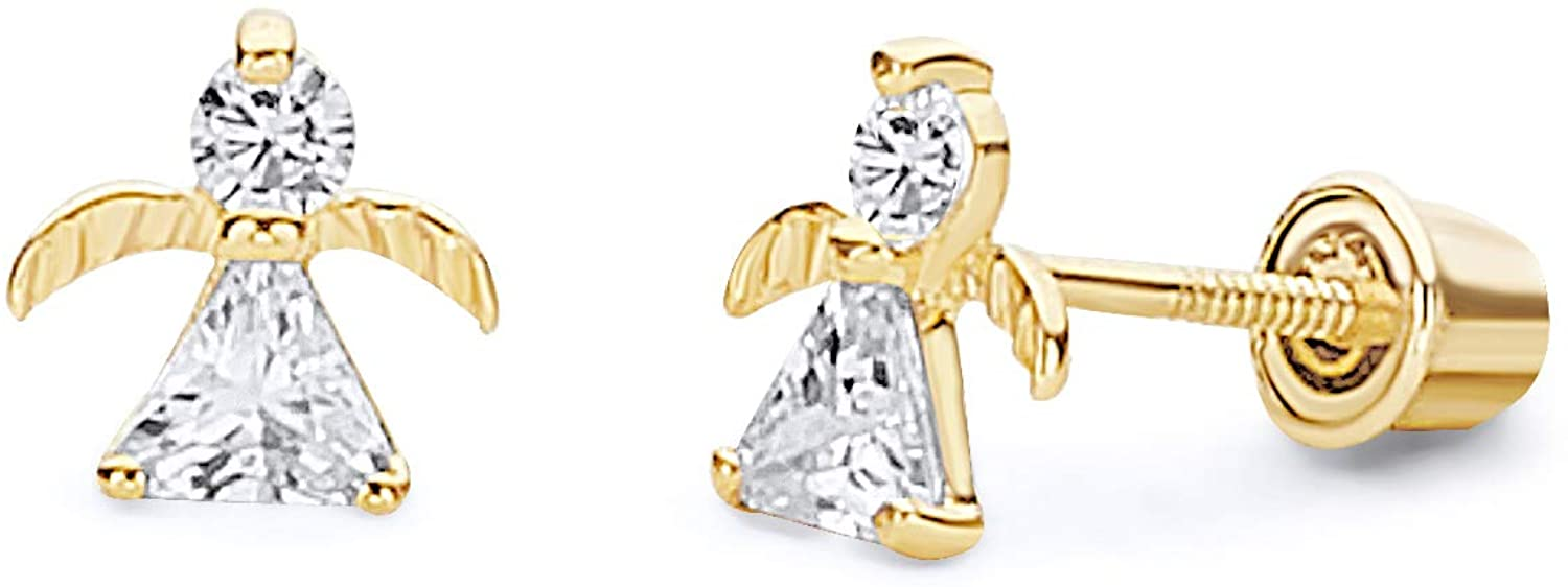 14k Yellow Gold Angel Stud Earrings with Screw Back - 2 Different Color Available