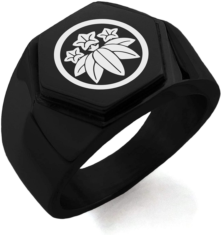Stainless Steel Ishikawa Samurai Crest Hexagon Crest Flat Top Biker Style Polished Ring