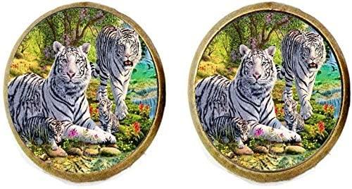White Tiger Earring Wild Animal Jewelry Vintage Charm Jewelry Glass Photo Jewelry