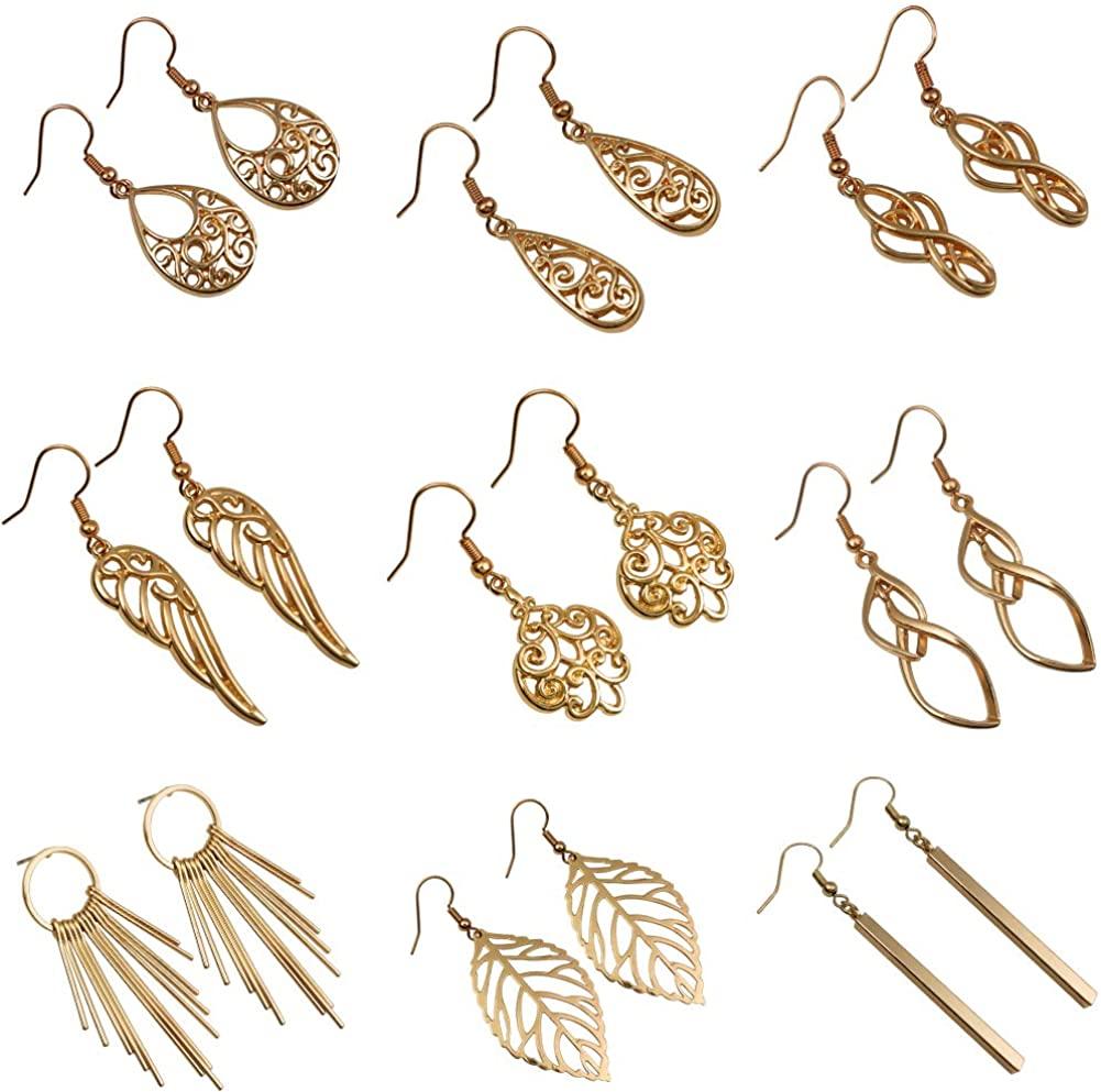 9 Pairs Knot Dangle Earrings Curved Threader Drop Earrings Lightweight Simple Double Twist Long Thread Metal Gold Silver Earrings Teardrop Tassel Chain Earrings Set for Women Girl Jewelry