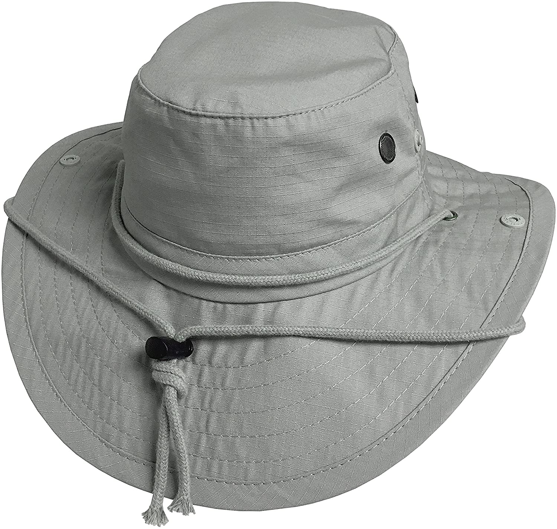 Broner Mens UV Blocker Big Brim Cotton Ripstop Sun Hat with Chincord