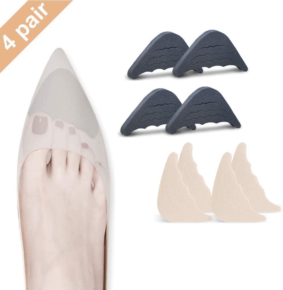 4 Pairs Toe Filler Inserts Adjustable Toe Plug Reusable Shoe Filler Filler Unisex Shoe Toe Plugs for Men&Women, Fits Pumps, Flats,Boots,Sneakers etc (2 Pair Beige+2 Pair Black)