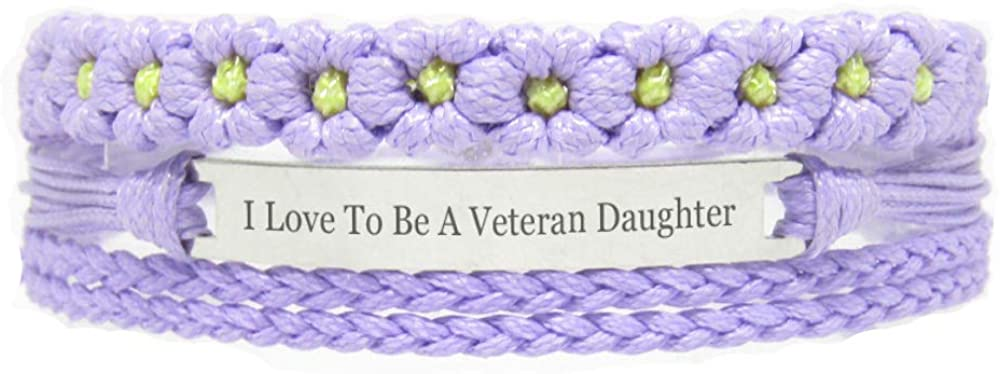 Miiras Family Engraved Handmade Bracelet - I Love to Be A Veteran Daughter - Purple FL - Made of Braided Rope and Stainless Steel - Gift for Veteran Daughter