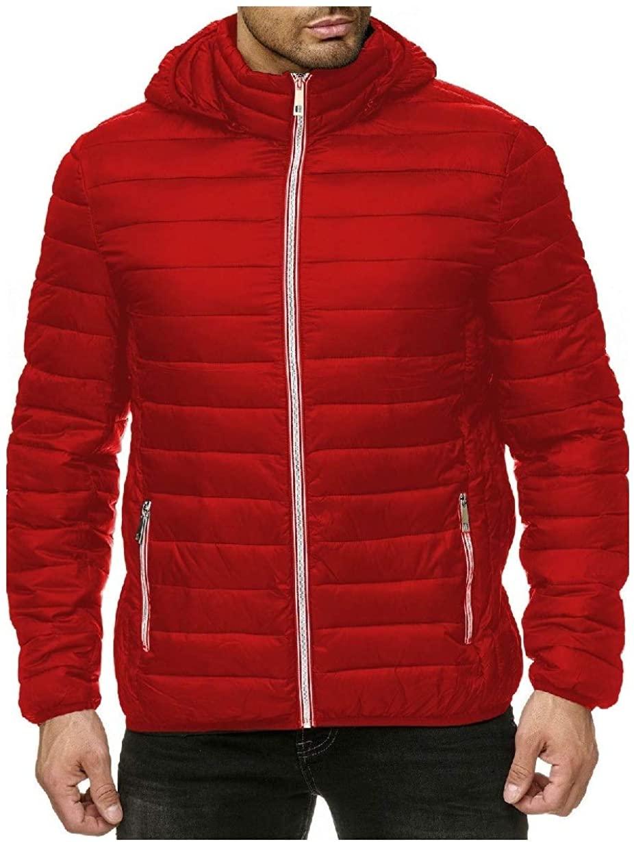 Losait Men Classic Regular-Fit Zipper Solid Hood Parka Jacket Coat Outwear
