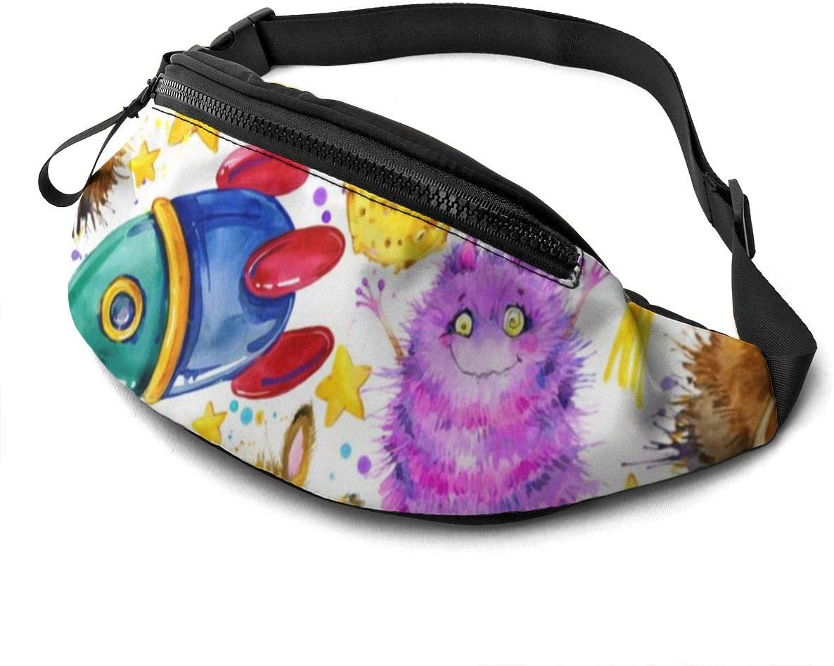 Cute Monster Fanny Pack for Men Women Waist Pack Bag with Headphone Jack and Zipper Pockets Adjustable Straps