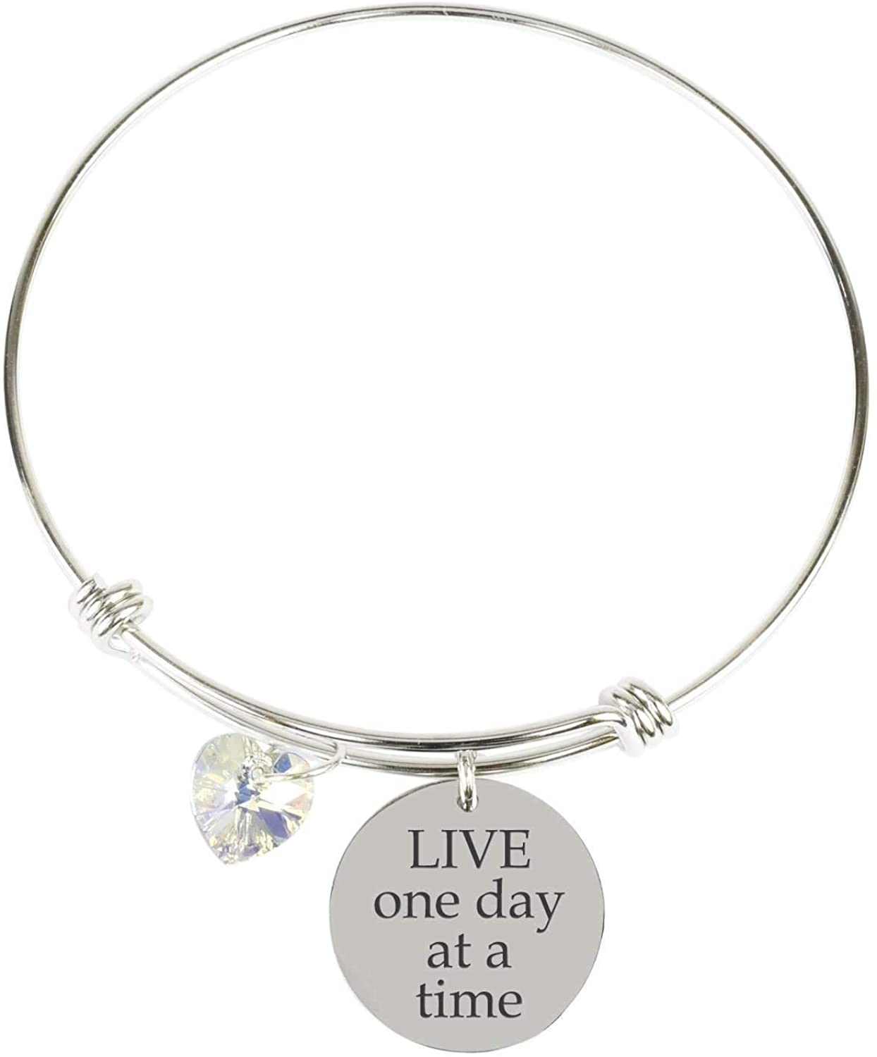 Pink Box Inspirational Expandable Wire Bangle Made with Swarovski - Silver - Live ONE Day at A TIME