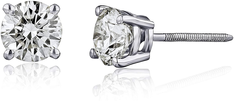 The Diamond Channel Diamond Stud Earrings for Women - AGS Certified Real Diamond Earring Pair with Screw Back & Post Studs - 14K White Gold Diamond Studs - Fine Jewelry for Women & Men