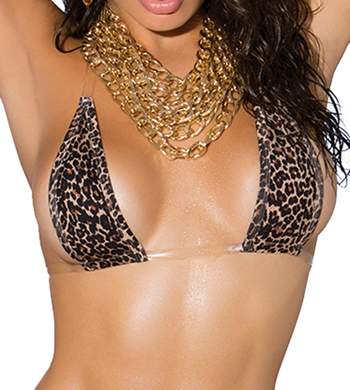 Hot Spot Lycra Bikini Top and Matching G-String with Clear Elastic Trim