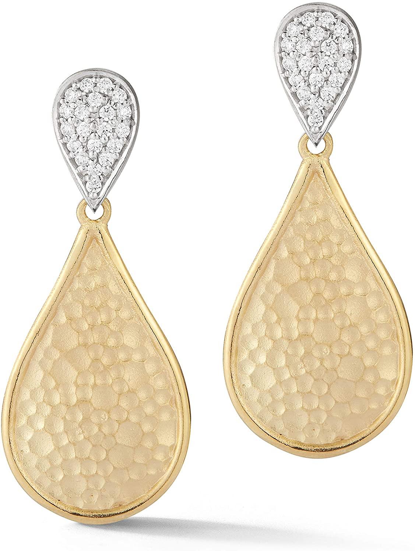 14K Yellow Gold 0.3ct TDW Diamond Hammer-finished Tear Drop Earrings