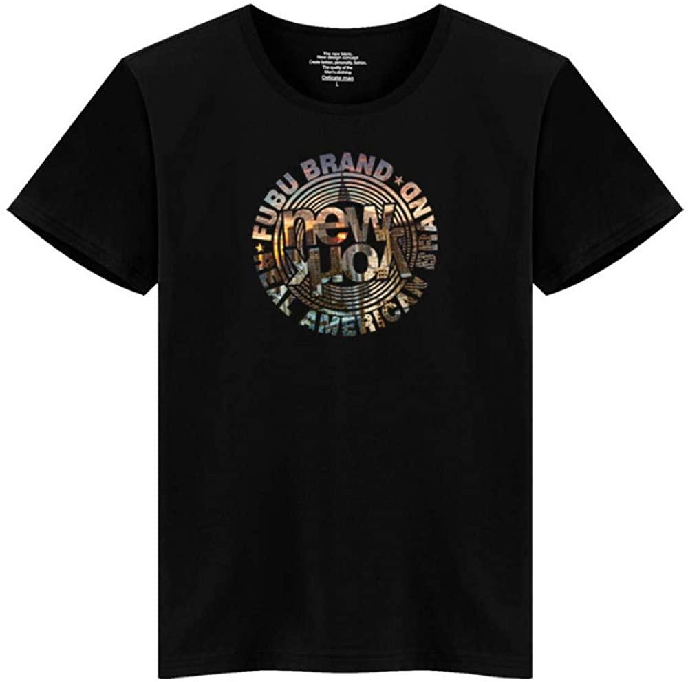 HOSD Printed Round Neck Short Sleeve T-Shirt Bottoming Shirt Short Sleeve Black