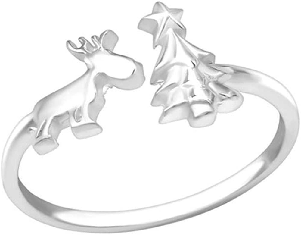 Reindeer & Christmas Tree Plain Rings 925 Sterling Silver