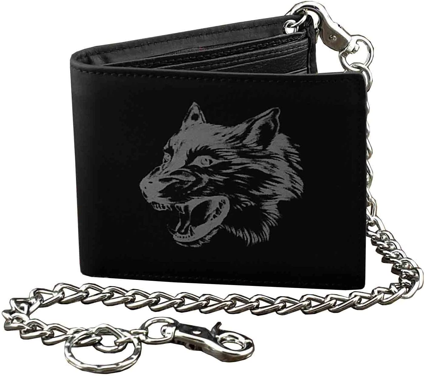 Wolf design Leather Mens Bi-Fold Wallet BLACK w/Biker long Chain