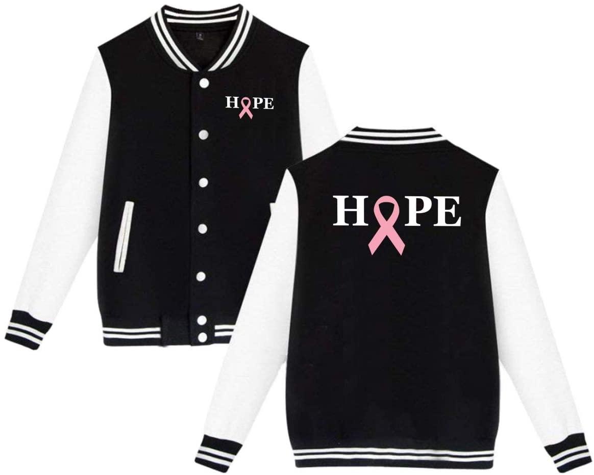 MOCSTONE Men's Women's Varsity Jacket Hope to Heal Breast Cancer Baseball Jacket Letterman Jackets Sport Coats
