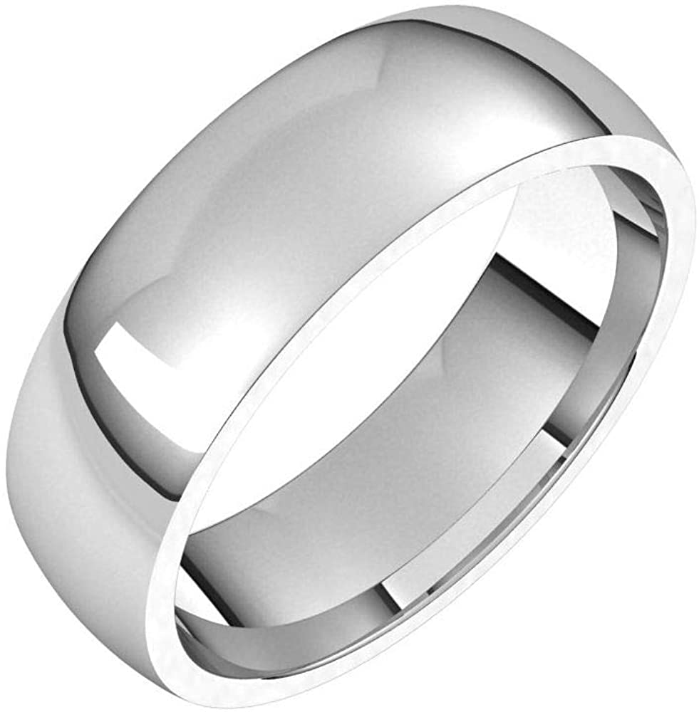 Solid 18K White Gold 5mm Half Round Comfort Fit Light Wedding Band Size 10.5