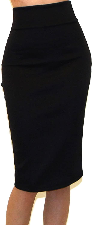 Vivicastle Women's USA High Waist Band Bodycon Career Office Midi Pencil Skirt