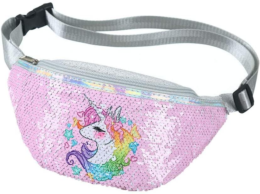 Girl's Unicorn Fanny Pack - Cute Kids Travel Waist Bag - Crossbody Belt Bag Sport Running Camping Trip - Christmas Gift for Girls