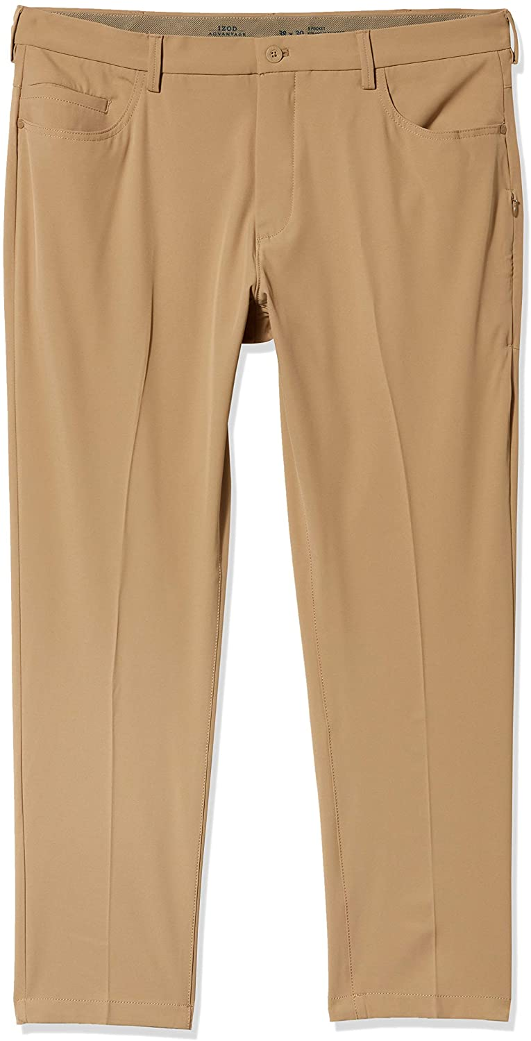 IZOD Mens Advantage Performance 5-Pocket Straight Tapered Fit Chino Pant