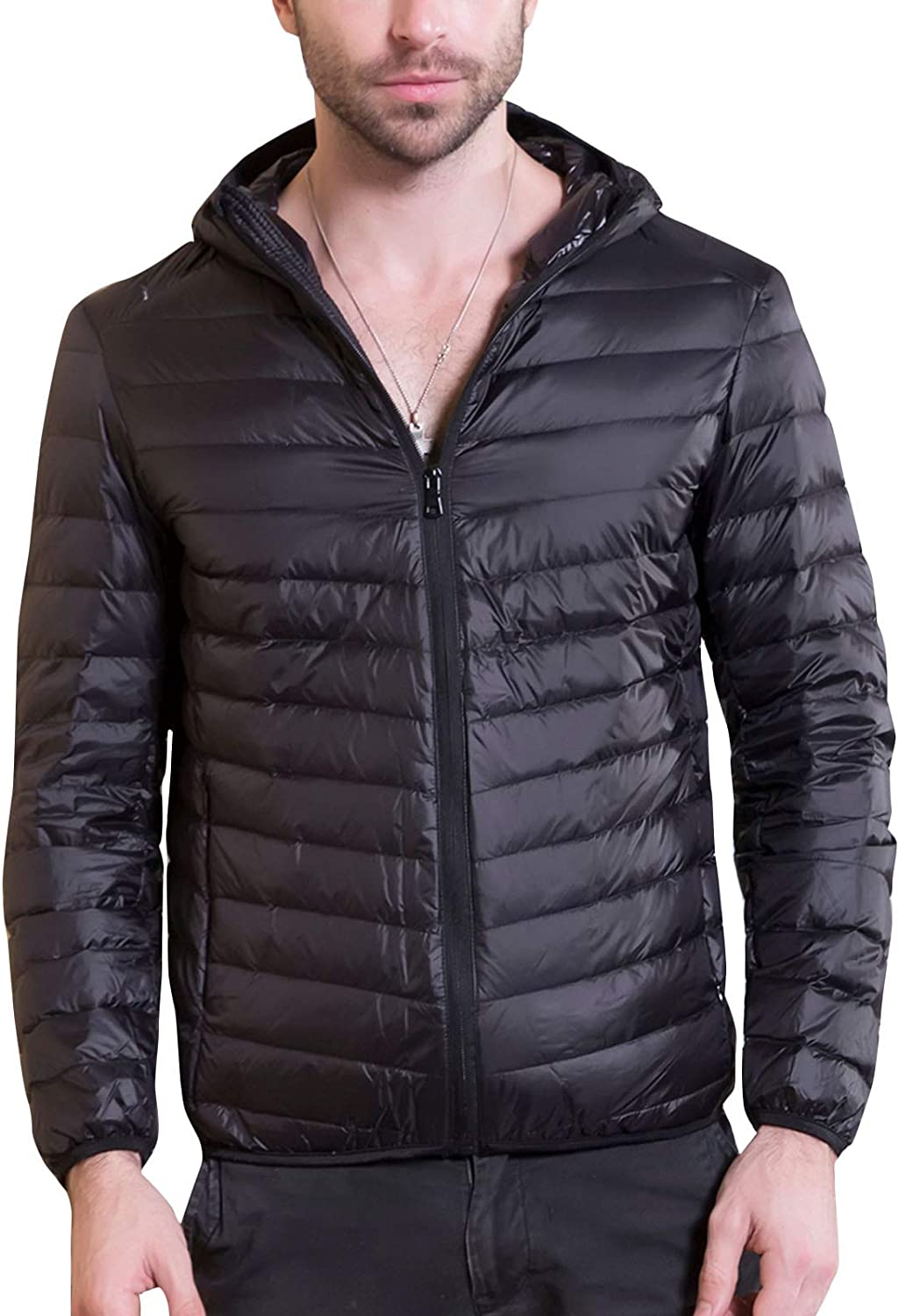 Flygo Men Lightweight Packable Quilted Puffer Down Jacket Hooded Insulated Short Coat