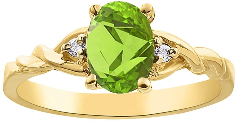 Diamond & Peridot Ring set in Yellow Gold Plated Silver