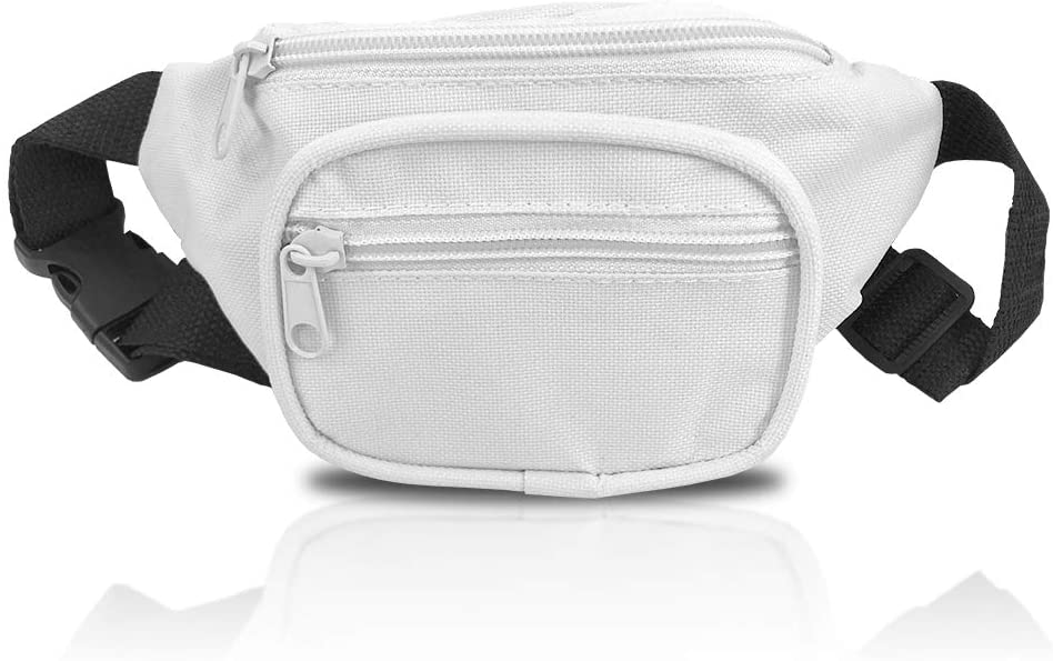 Child Fanny Pack, Solid Color Design, Bright White Waist Bag, For Girls Boys Kids Toddlers Infants (White)