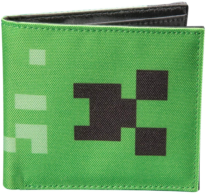JINX Minecraft Creeper Face Nylon Bi-Fold Wallet, Green, One Size
