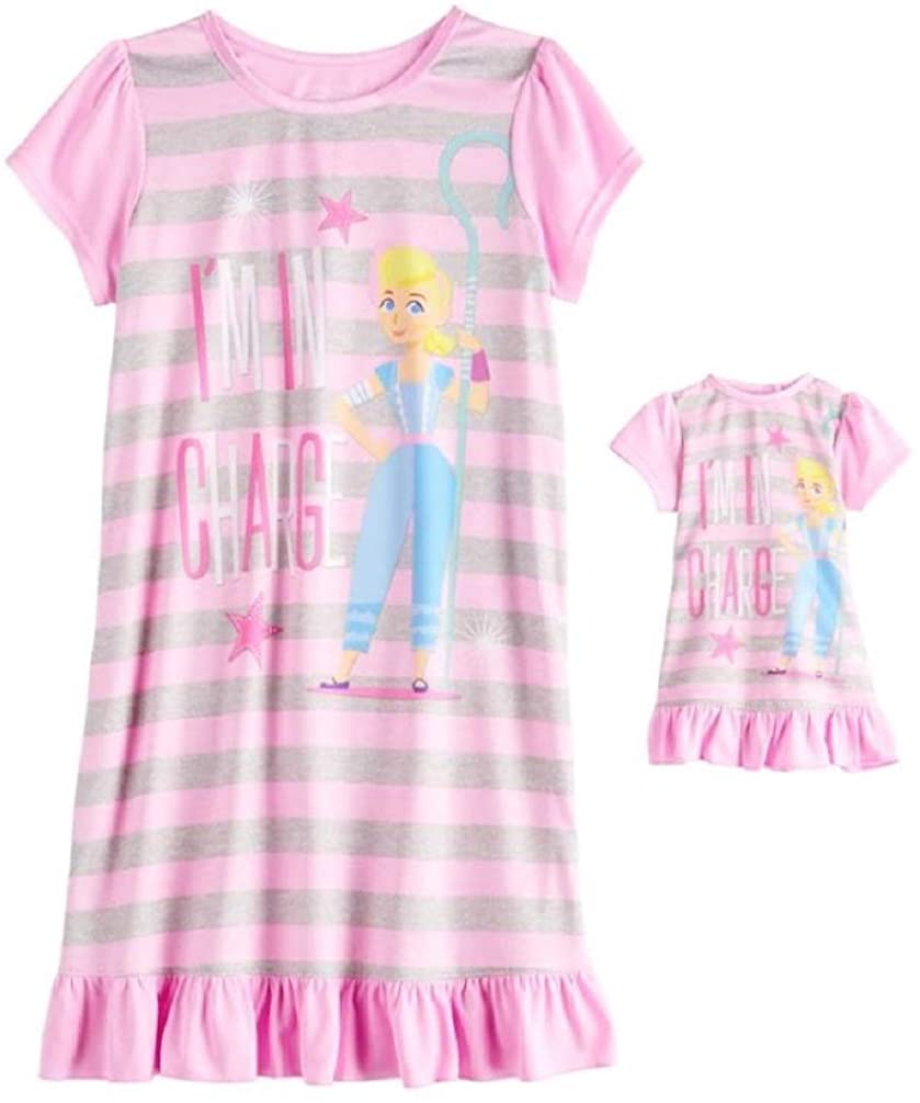 Toy Story Girl's Little Bo Peep Striped Nightgown with Doll Gown